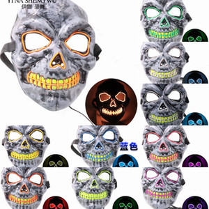 Хэллоуин 10 цветов Led маска Скелет Эль Тушь костюм Dj Party Light Up Glow в Dark Punk Мода Косплей Маски на продажу завод ДИБК