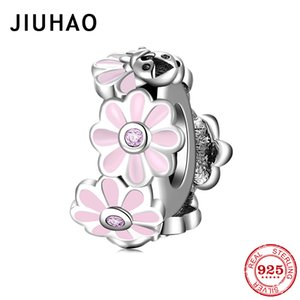 925 Pink Enamel Flowers Spacer Stopper Fit Jiuhao Charms Silver Original Bracelets Bangles Jewelry Making