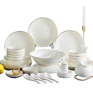 38pcs Europe design bone china Wholesale ceramic tableware bone china gold trim dinnerware set modern and comcise style handcraft