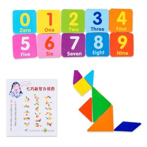 Multi-Functional Wooden Abacus Tool with Double-Sided Drawing Board Seven-Piece Puzzle for Kids Toddlers Preschoo Toys & Hobbieslers