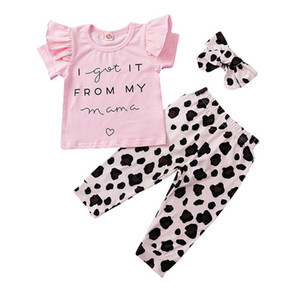 Baby T-Shirts+Ruffle Trousers Outfits Fall 2020 Children Boutique Clothing 0-2T Toddler Cotton Short Sleeves 2 PC Set Stylish Baby Clothes