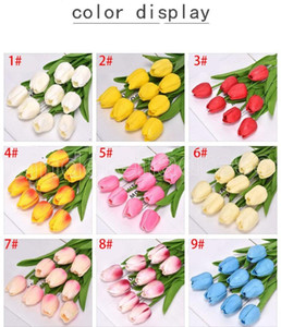 50PCS Latex Tulips Artificial PU Flower bouquet Real touch flowers For Home decoration Wedding Decorative Flowers 32 Colors Option FY242