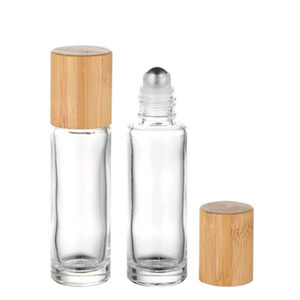 Bamboo Lid Cap Roll on Ball Glass Roll on Bottle Portable Essential Oil Bottle With Stainless Steel Roller Ball 10ml OWB1439