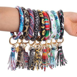 PU Leather Wrap Key Ring Women Tassels Bracelets Leopard Lily Print Keychain Wristband Sunflower Drip Oil Bangle Bracelet Chains
