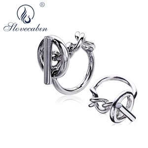 Slovecabin Vintage Men Jewelry Authentic 925 Sterling Silver Lock Wedding Rings bague Femme Marage Argent Rings For Women CJ191116
