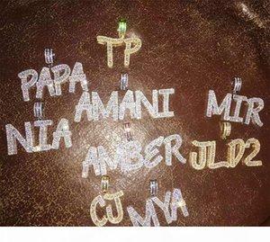 14K Custom Baguette Letter Pendant Necklace Combination Letters Name Pendant 24inch Tennis Necklaces Zirconia Hiphop Jewelry