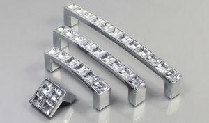 European Silver Diamond Crystal Handles Decoración del hogar Moderno Minimalista Armario Drawer Door Door Zinc Alloy Pulls Gwe4092