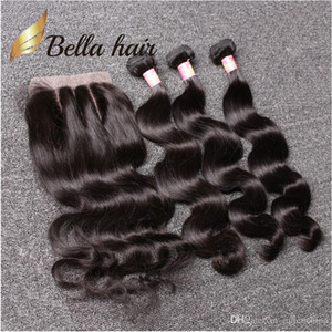 Bonnet Bella Hair® Brésilien Bundles avec fermeture 8-30 Double trame Human Hair Extensions Hair Free Fermeture Body Wave onduleuse Julienchina