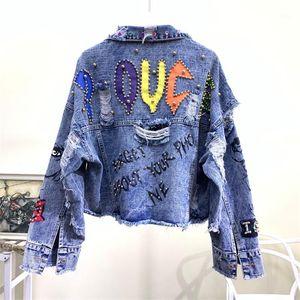 2020 New Autumn Women Denim Jacket Graffiti Alphabet Printing Color Beading Holes Jeans Jacket Casual Fashion Student Basic Coat1