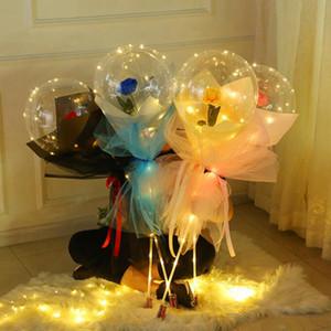 LED rose bobo ball Light Luminous Balloon Rose Bouquet Transparent Bubble Ball for Valentine's Day Gift Wedding Decoration GGA3844