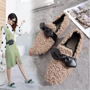 2020 autumn new style cotton plush surface fashion single shoes plush shoes butterfly flower flat women's shoes