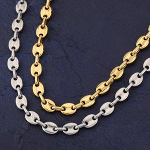 رجل الهيب هوب زر سلسلة قلادة القهوة الفول سلسلة مجوهرات 8 ملليمتر 18 بوصة 22 بوصة الذهب رابط للرجال النساء بيان قلادة هدية 38 N2