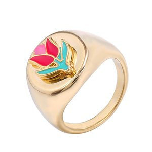 Ins Fashion Creative Retro Gold Geometric Ring Women Girls Party Jewelry Sweet Vintage Flower Ring 6 7 8 Size Optional