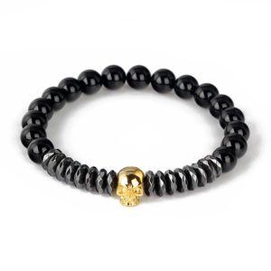 Crâne Bracelet Mode strandard Hommes Femmes Bracelet naturels de haute qualité Noir mat Onyx Perles Bijoux BR002
