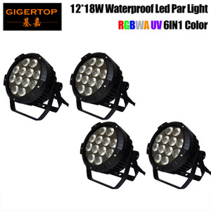 Freeshipping 4 Pack 12x18W RGBWA LED UV DJ PAR Luz IP65 DMX Waterproof PAR 64 Stage Lighting Display LCD Fundição de alumínio