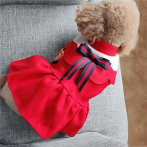 Korea School Design Pet Uniform Dresses For Small Dog Cute Bows Autumn Winter Chihuahua Pugs Cat Outfit Clothing Halloween Party