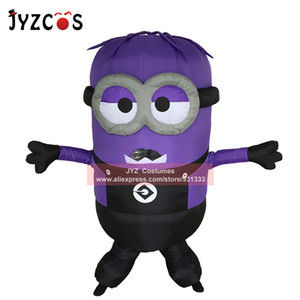 JYZCOS adulte Minion gonflable Costume Halloween Costume Party Double célibataire Yeux Minion mascotte Costume Carnival Pourim