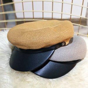 Beckyruiwu 2020PU pelle del cappello di paglia di Sun solido di colore Navy Cappello Uomini strillone Caps estate delle donne piana di modo Army Navy Cap
