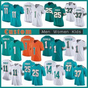1 TUA Tagovailoa Özel Erkek Kadın Çocuklar Futbol Jersey 25 Xavien Howard 11 Devante Parker 37 Myles Gaskin 14 Jarvis Landry 13 Dan Marino