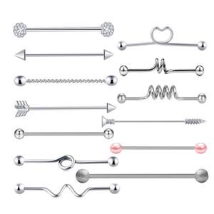 14 g de acero quirúrgico aretes industriales aretes de cartílago cuerpo piercing joyería industrial piercing barra conjunto para hombres y mujeres