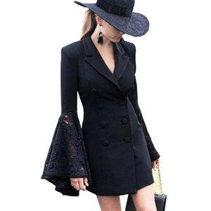 Женские костюмы Blazers 2021 Женщины кружевные лоскутное длинное рукав и куртки женские пиджаки Верхняя одежда Женская двубортное пальто