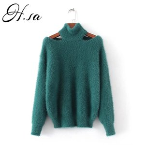 HSA Automne Hiver Fashion Sweaters Coréen Pull Sexy Pullovers Mohair Jumpers Halter Loose Tops Sexy Fur Sweater 201221