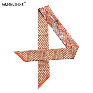 2020 New Design Skinny Silk Scarf Women Bag Hair Neck Scarf For Ladies Foulard Femme Headband Bag Scarves