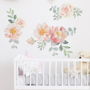 Hand Paint Watercolor Flowers Wall Stickers Peony Rose Green Leaves Wall Decals for Baby Nuresery Living Room Bedroom Decor PVC