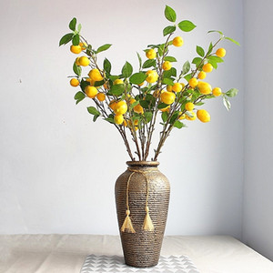 Yapay Bitki Limon Ağacı Meyve Dalları ile Mağaza Oturma Odası Dekorasyon Bitki Dekorasyon Bahçe Dekorasyon Yok Vazo T200509