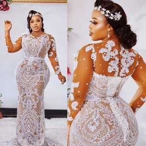 2021 Fashion Plus Size Mermaid Lace Wedding Dresses Sheer Bateau Neck Long Sleeves Beaded Bridal Gowns Sweep Train robe de mariée