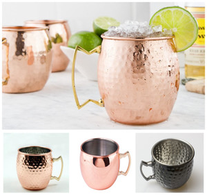 Mule 550ml Hammered Copper plated Stainless Steel Moscow Mug Drum-Type Beer Coffe cup Water Wine Glass Drinkware