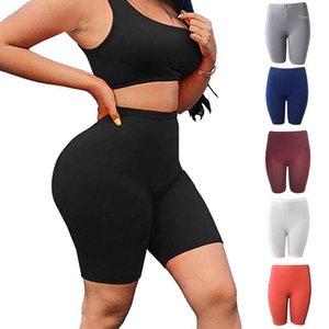 Yoga Kıyafetler Kadın Şort Rahat Katı Kısa Egzersiz Giyim Yaz Ev Spor Yüksek Bel Elastik Fitness Skinny Sports 20211