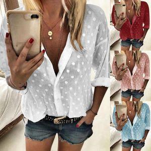 2020 New Womens Tops and Blouses Long Sleeve chemise femme Polka Dot Loose Shirt Ladies Chiffon Blouse Dames blusa feminina
