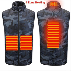 2020 New 4 Area Heating USB Electric Heated Vest Menwomen Winter Heating Waistcoat Super Warm Outdoor Coat Camping Hiking Jacket