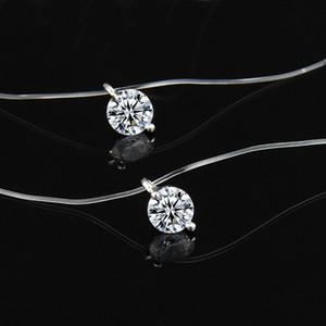 La manera transparente de la pesca con caña collar de las mujeres collar de Chocker invisible cadena de 8 mm de cristal colgante Gargantilla en línea Cuello barato