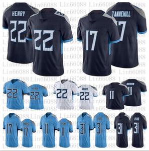 Uomini 22 Derrick Henry 11 AJ Brown 31 Kevin Byalard 17 Ryan Tannehill Jerseys White Navy Blue