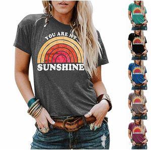 Mujeres Summer Tshirt Designer Tú eres My Sunshin Letter Letra T Shirts Camisa de manga corta Top Camisa para mujer Blusa de mujer Conciso Ropa