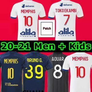 20 201 de Maillot de pie Dembele Lyonnais 2020 2021 Lyon Jersey 10 # Memphis Bruno G. 39 Toko Ekambi 7 Hogar lejos Tercer fútbol hombre niños