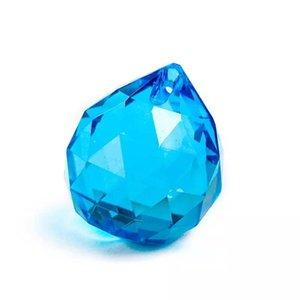 1 قطعة 30 ملليمتر الأزرق كريستال الكرة المجال الأوجه تحدق الكرة المنشور suncatcher الزجاج الثريا الكريستال الملحقات قلادة ديكور المنزل h jllfab