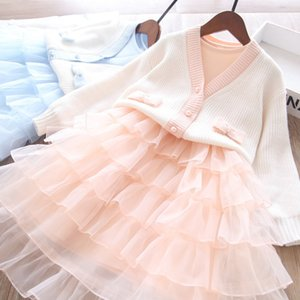 Girls Princess Outfits 2021 summer new children knitting cardigan+long sleeve tulle tutu cake dress 2pcs Kids Spring Clothing A5730