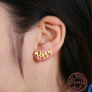Amxiu Custom 100% 925 Silver Stud Earrings Engrave Any Name Earrings For Women Men Personalized Gift Free Diy Earrings Jewelry Y19062901