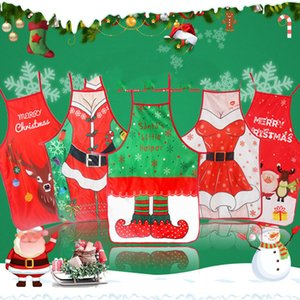 Adult Christmas Apron Santa Lady Printed Cartoon Cute Cooking Apron Christmas Decoration Props For Kitchen Tools Xmas Gift AAD2196