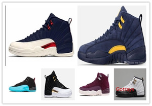 Cheap 12 bulls UNC College Navy Wheat Bordeaux The Master Black Wool Flu Game Michigan Men Basketball Shoes 12s Womens Sneakers Trainers