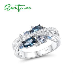 SANTUZZA Silber-Ringe für echte Frauen 925 Sterlingsilber-blau schimmernde Spinell Zirkonia Trendy Luxus edlen Schmuck 201112