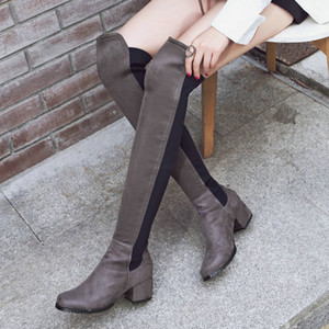 Stretch Lycra Womens Knee High Boots Thick Mid Heel Long Riding Boots Shoes Winter Autumn Boots Black Beige Wine Dark Gray LJ201130