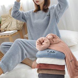 Finetoo kadın Kış Flanel Pijama Set Bayan Polar Pijama Pijama Homewear Kalın Sıcak Kadife Kadın Takım Elbise Güz Kazak 201029