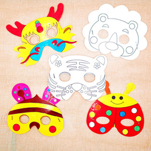Cartoon Animal Shaped Party Masks DIY Painting Children Kids Mask for Halloween Cosplay Birthday Party