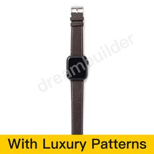L Diseñador de moda Iwatch Bands 42mm 38mm 40mm 44mm IWatch 2 3 4 5 bandas Correa de cuero Pulsera Stripes Rayas de reloj Envío gratis