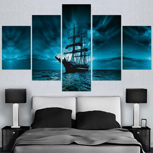 Modular Picture HD Printed Modern Painting Wall Art 5 Panel Pirate Ship Home Decoration Posters Framework Living Room On Canvas