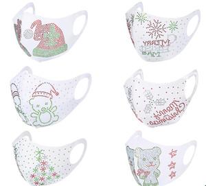 Masque Visage de Noël poussière Bouche de protection Bouclier de Noël flocon de neige blanc respirateurs ours perle Sequin Party Mask
